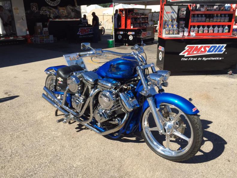 Blue V-twin bike